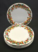 Home Accents Fine China set of 4 Dinner Plates Holiday Ribbon Christmas Gold Rim