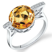 14 Kt White Gold 4.9 cts Citrine and Diamond Ring R61756