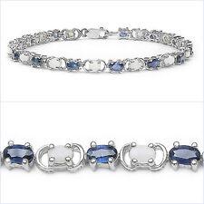 Bezauberndes Saphir/Opal Armband in 925 Silber Rhodiniert-6,11 Karat