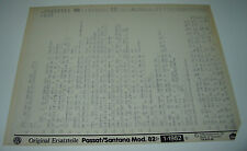 Microfich Ersatzteilkatalog VW Passat Typ 32B 32 B B2 B 2 Santana Stand 01/1982!