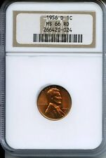 **Beautiful Blazing 1956-D NGC rated MS66RD Lincoln Cent **