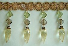 Beaded Tassel Fringe Gold, Sage Green with Clear light Gold, Brown, Green Beads