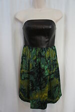 Kensie Dress Sz 10 Green Black Combo Strapless Evening Cocktail Party Dress
