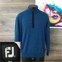 FJ Footjoy Mens 1/2 Zip Sweater Pullover 100% Wool Blue Size M Casual Golf