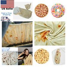 Mexican Throw Burrito Blanket 3D Tortilla Flannel Blanket Bedding Funny Pizza Do