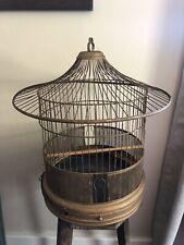Antique Hendryx Brass Bird Cage Vintage Hanging Metal Round House Deco Pagoda