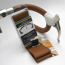 Velobitz Vintage Tan Leather Handlebar Cover Kit, Wax Thread & Needles
