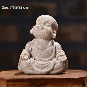 Cute Little Monk Statue Sandstone Adorable  Chinese Buddha Statuettes Figurine