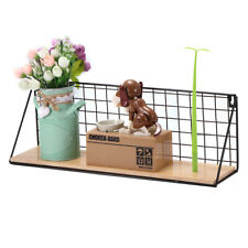 Large Wall Mounted Floating Shelf Unit Metal Wire Wood Rack Storage Display L