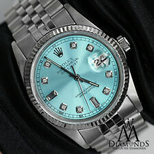 Men's Rolex 36mm Datejust Ice Blue Color Dial with 8+2 Diamond Watch