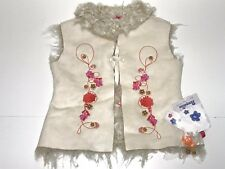 Pampolina New Girls EMBROIDERED FLORAL FAUX FUR WARM VEST Sz: 6 RTL: $130 P221
