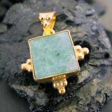 Handmade Designer Natural Emerald Pendant  22K Gold Over 925K Sterling Silver