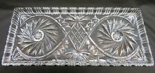 Lead Crystal Serving Tray Platter, Rectangular, Etched Pinwheel Pattern