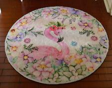 "8"" Wonderful Flamingo in Floral Dollhouse Beige ROUND Miniature Rug 1/12 1/6"