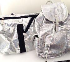 Duffle Bag and Backpack Set Sequin Iridescent Women Travel Luggage Sport Handbag