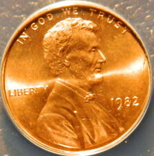 1982 SMALL DATE LINCOLN CENT ANACS CERTIFIED MS66 ZINC RED