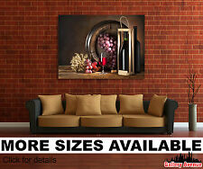 Wall Art Canvas Picture Print - Wine Barrel Grapes Wine Glasses 3.2