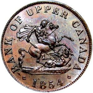 1854 Bank Of Upper Canada Half Penny Token Dragon Breton 720