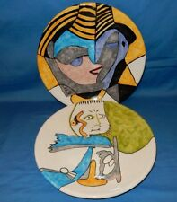 """2 Mexican 12"""" Plates Platter Charger Man Woman Abstract Picasso Style Mexico"""