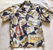 Mens Polo Ralph Lauren L Travel Postcard Hawaiian Style Button Down Shirt
