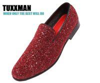 New Men's Glitter Burgundy Red Slip On Dress Shoes TUXXMAN Loafers Prom Tuxedo