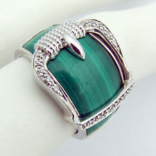 Belt Buckle Ring Malachite Sterling Silver