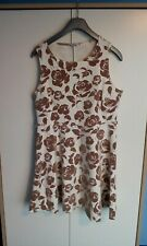 New Look Cream And Brown Floral Dress .Size 16 .