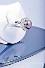 Heart Crystals- Black  Fresh Water Genuine Pearl 10 mm Ring, Gift