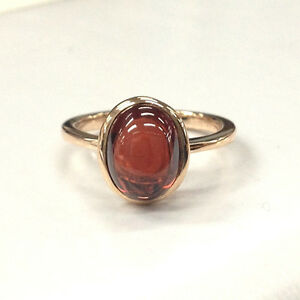 Oval Red Garnet Solitaire Engagement Ring 14K Rose Gold Bezel Set Wedding Band