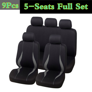 Black/Gray 9Pieces Full Set 5-Seats Car Seat Covers For Interior Accessories