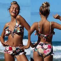 Women Floral Bikini Set Swimwear Padded Push up High Waist Ruffle Beach Swimsuit