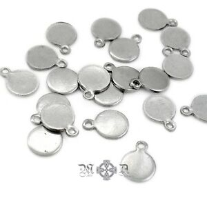 30 x Small Stainless Steel Round Blank Charm Tags 7mm Diameter x 9.5mm