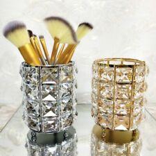 Artificial Crystal Decor Metal Pen Pencil Holder Makeup Brush Storage Organizer
