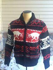 Polo Ralph Lauren Cowichan Elk Reindeer Sweater Cardigan Wool Ski Jacket Men's M