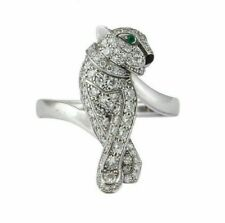 Panther Ring For Men's 925 Silver 2.68Ct Green/White Round Diamond Pave Enamel