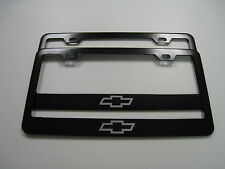 "2 Brand New ""CHEVY LOGO"" BLACK Metal License Plate Frame Front&Rear"