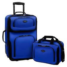 U.S. Traveler Rio 2pc Expandable Carry On Luggage Set - Blue