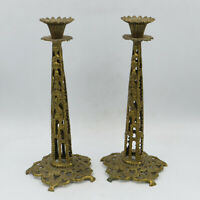 Vintage Brass TAMAR Ornate Isreal Jerusalem Candlesticks Lot of 2