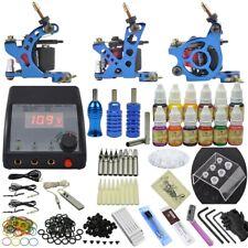 Complete 3 Machine Tattoo Kit Set Equipment Gun Ink Grip Needles 12 Pigment