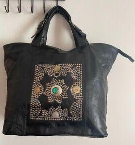 Handmade Moroccan shoulder black  leather bag