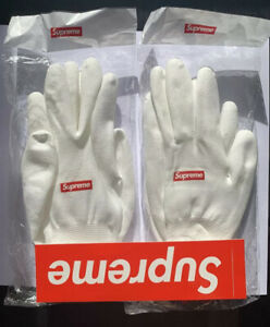 Supreme 2 Lot Rubberized Gloves FW20 White Red Box Logo OS Sticker Included
