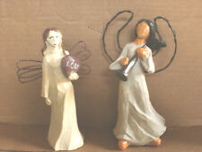 "Lot of 2~ANGEL FIGURINES~Willow Tree Type~6-7"" Tall"