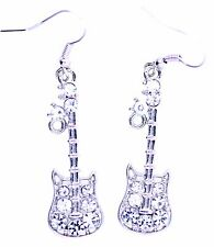 Silver and clear crystal guitar dangle earrings