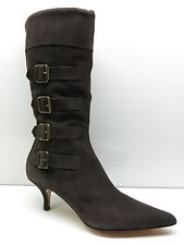 Pelle Moda Brown Suede Leather Mid Calf High Heel Side Zipper Buckle Boots 6M 6