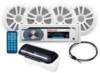 Boss MCK508WB.64S AM/FM/CD Receiver + MR6W 2 Pair Speaker + Marine Accs. Package