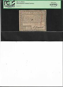 Massachusetts Colonial Currency May 5, 1780 $2 Choice New 63PPQ