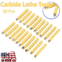 "20Pcs 3/8"" Carbide Tipped Lathe Cutter Cutting Tool Set For CNC & General Lathes"