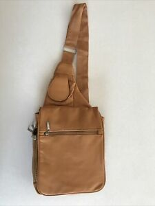 Buxton Crossbody Sling Bag Womens Purse Leather Beige Brown