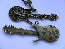 Lovely Guitar  Bronze Chain  Necklace