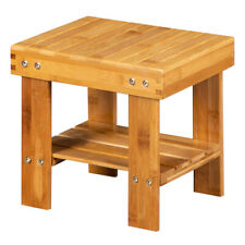 Wooden Bamboo Children Bench Safe Stool Storage Shoe Fishing Small Stool 10 in